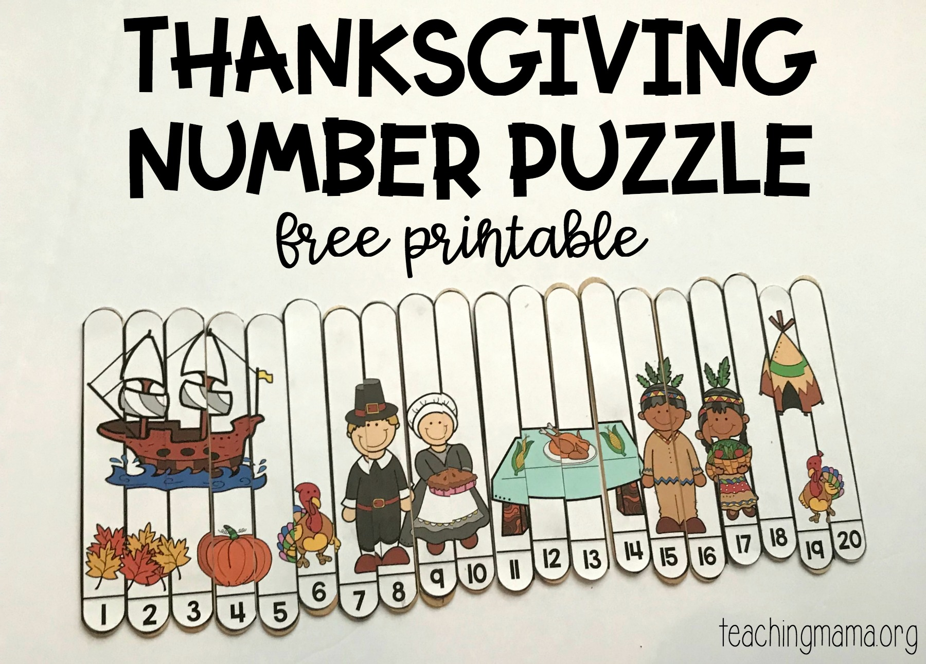 photo regarding Free Printable Number Puzzles titled Thanksgiving Selection Puzzle