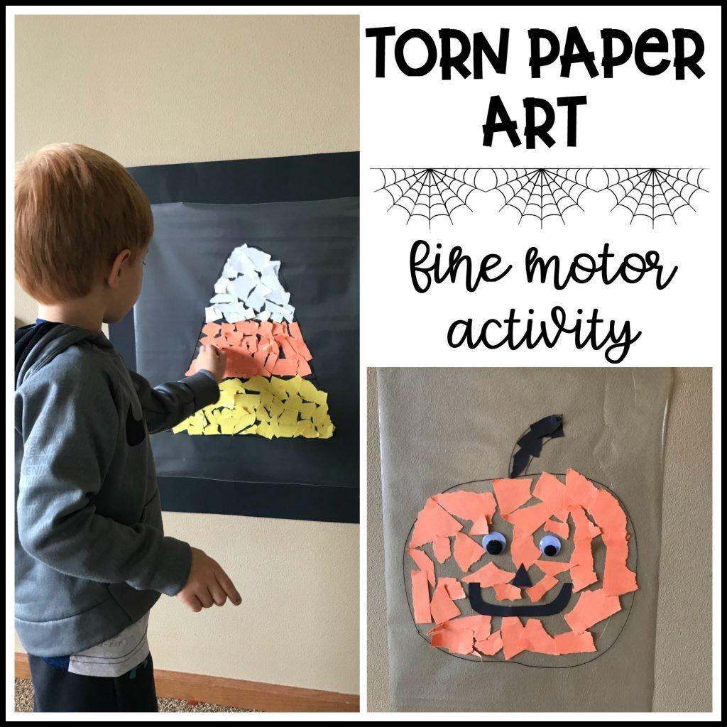 fall fine motor activity - torn paper art