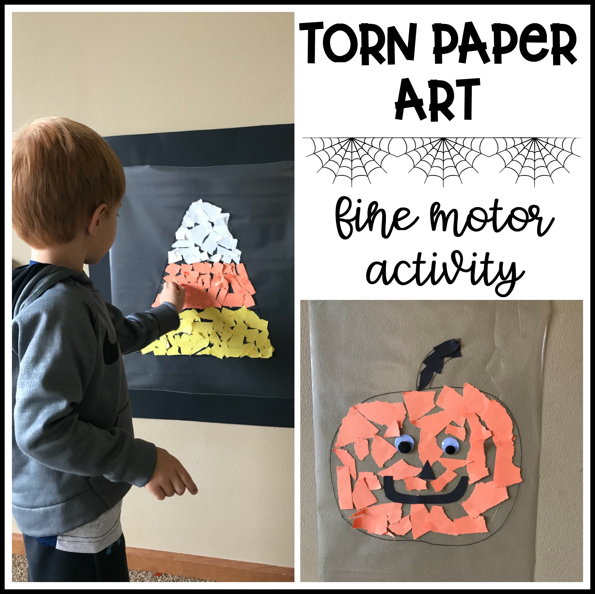 fall fine motor activity - torn paper art
