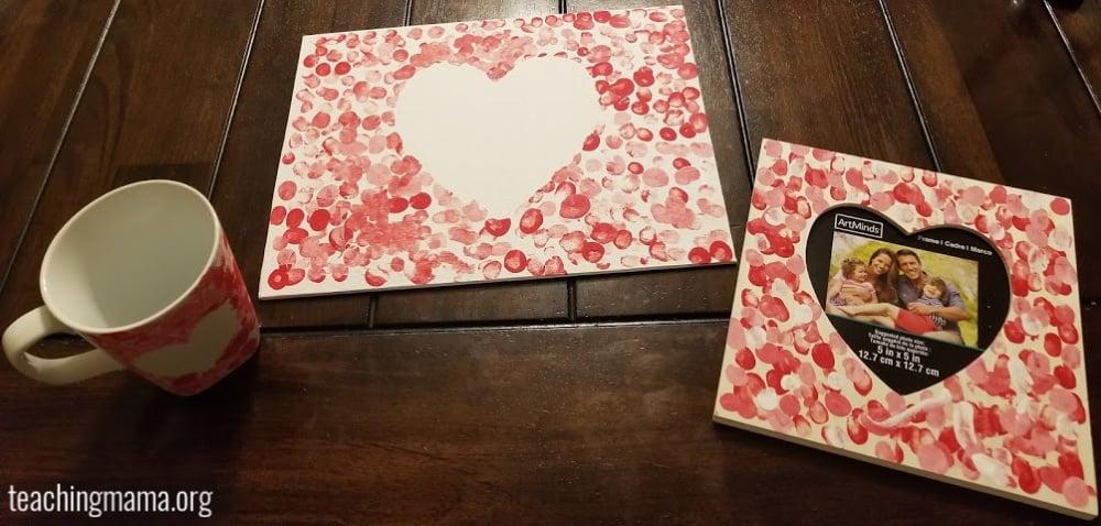 fingerprint valentine's day craft
