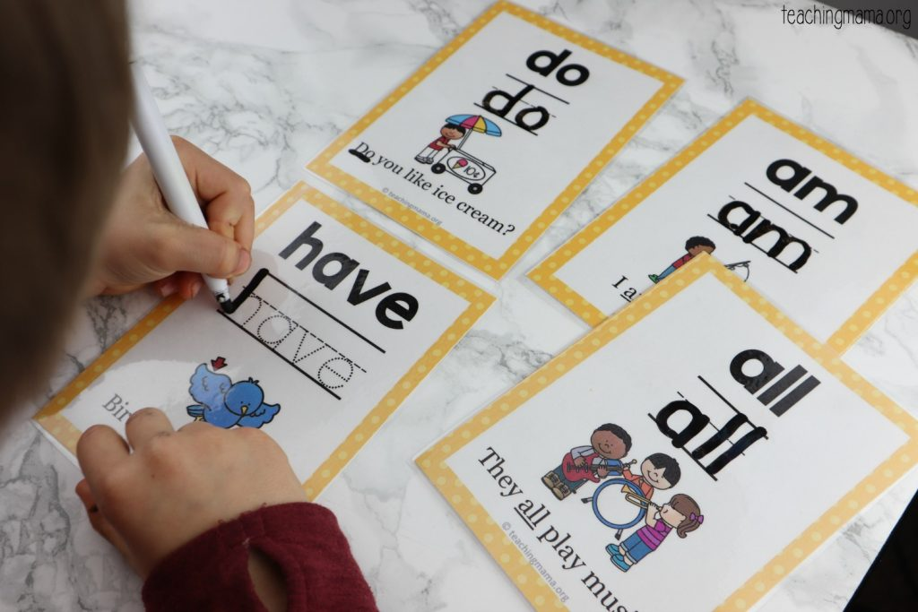 sight word practice cards - primer