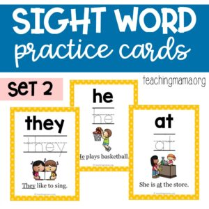 sight word practice cards - primer words