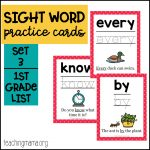Sight Word Practice Cards – First Grade