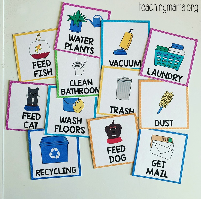 chore cards for visual schedule