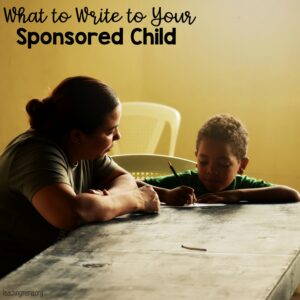 ideas for what to write to your sponsored child