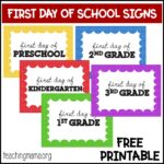 First Day of School Signs for Preschool – 5th Grade
