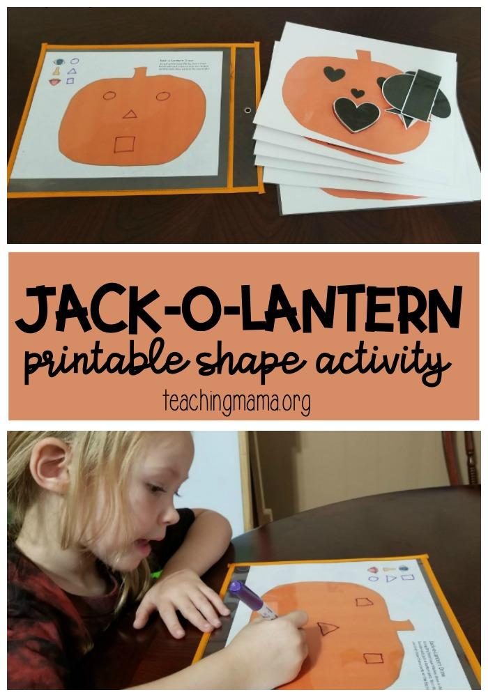 Jack-O-Lantern Printable Shape Activity