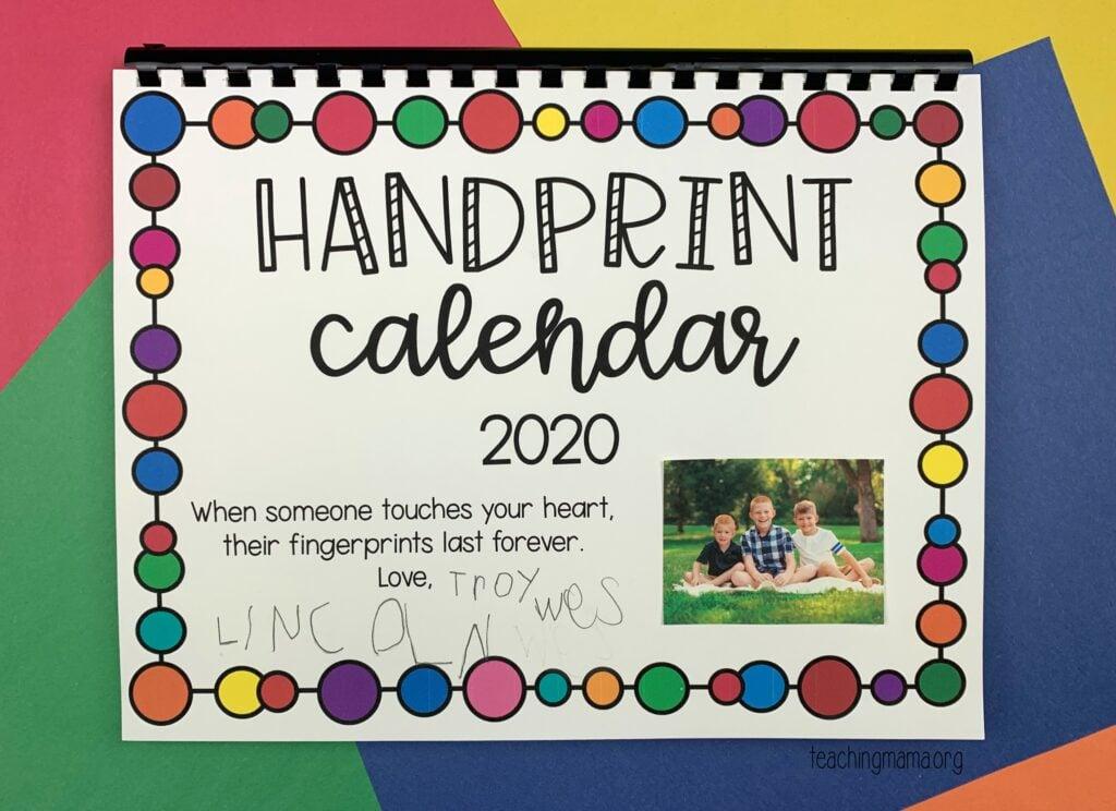 handprint calendar - gift idea