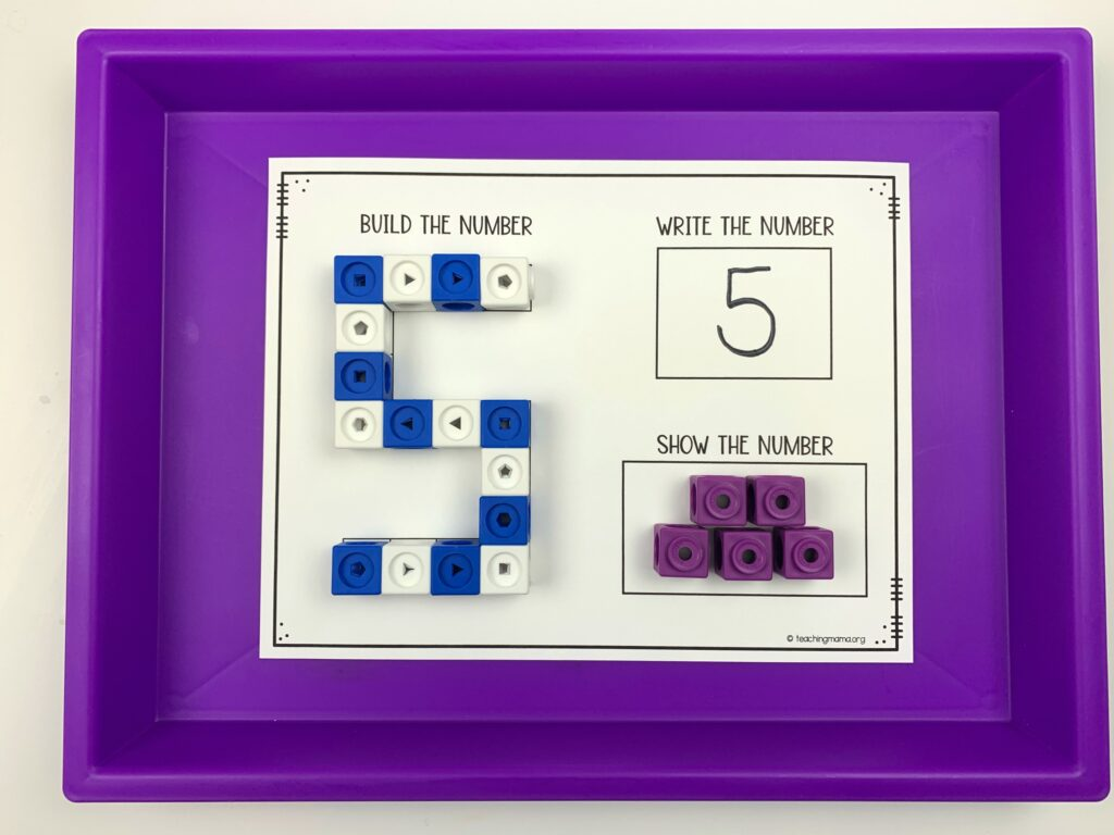 snap cube number mat