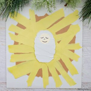 Torn paper manger craft