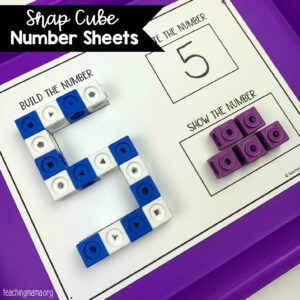 snap cube number sheets