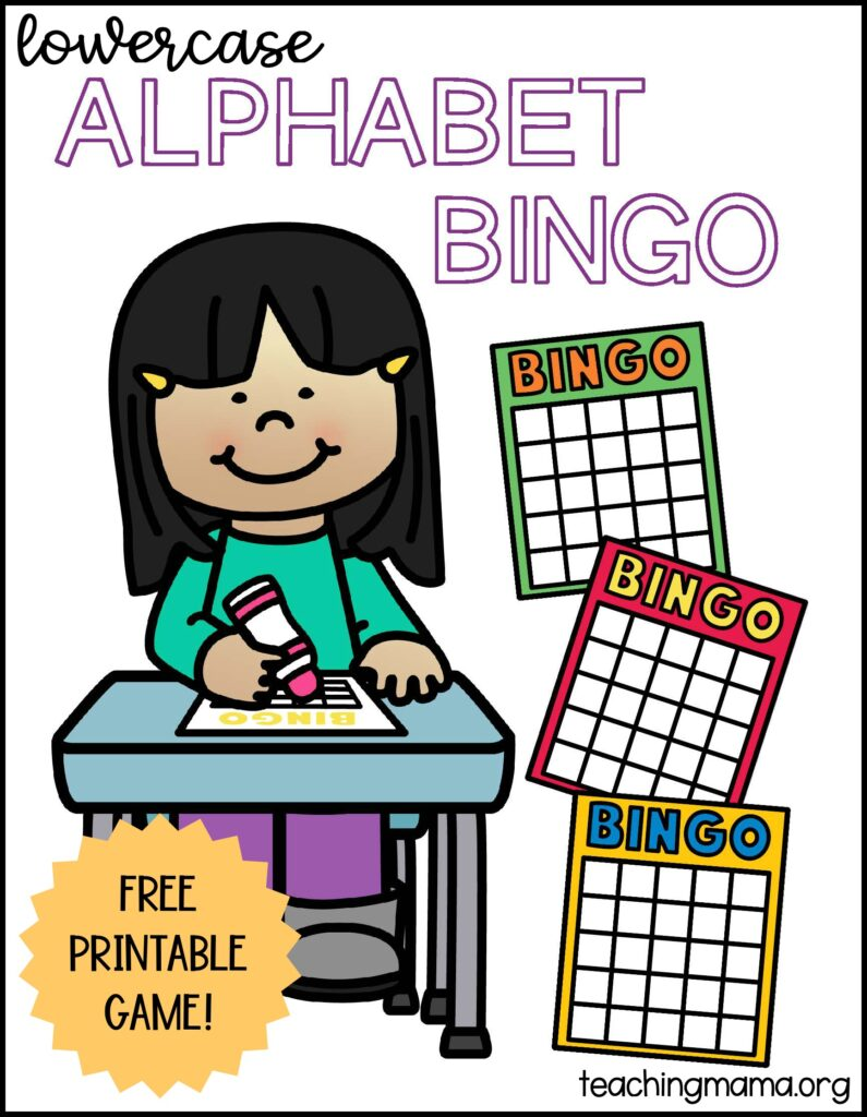 lowercase alphabet bingo game - free printable