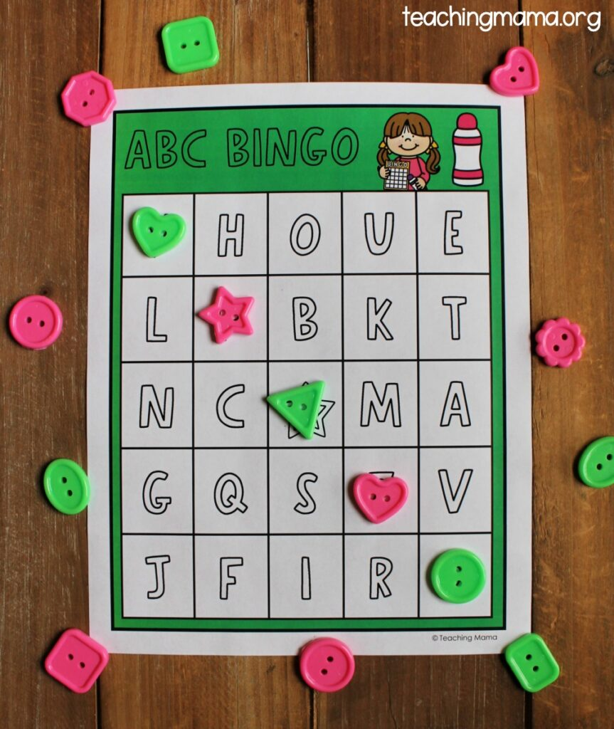 alphabet bingo with buttons