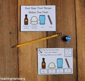 root beer floats with dice