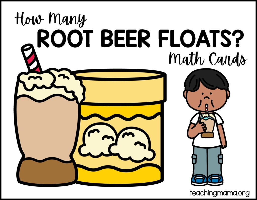 root beer float math cards