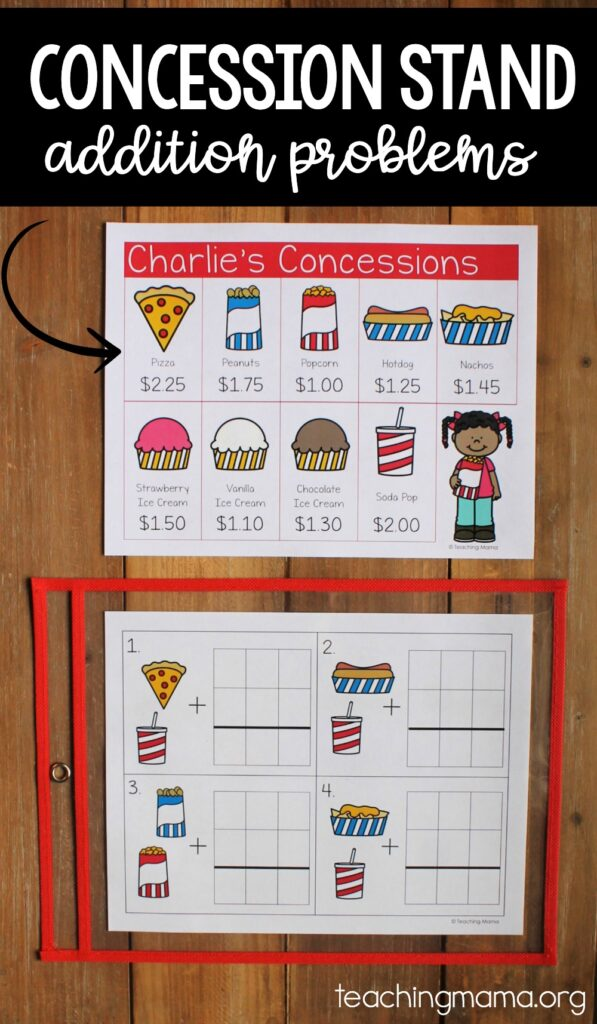 addition problems with a concession stand theme