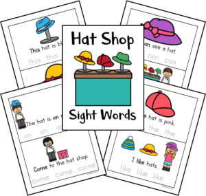 sight word practice pages with a hat shop theme