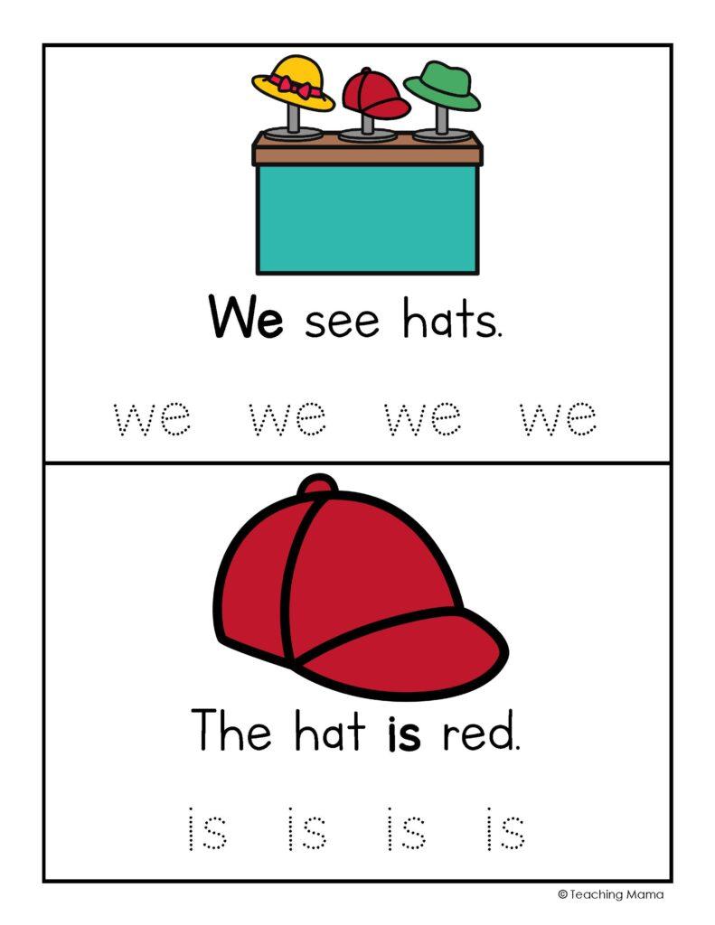 hat shop sight words - practice sentences