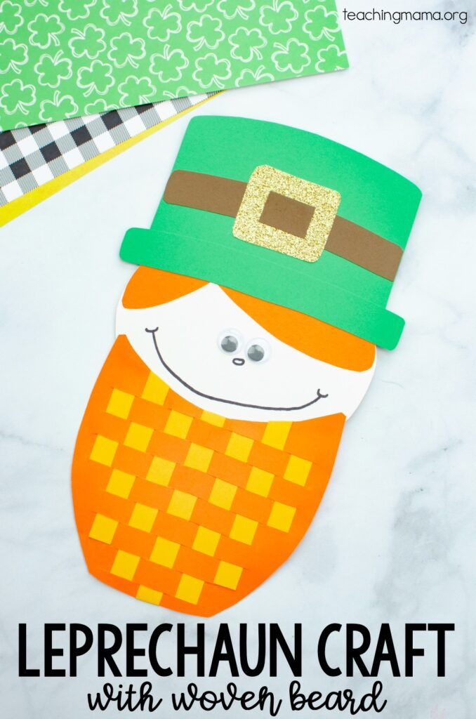 leprechaun craft with woven paper beard