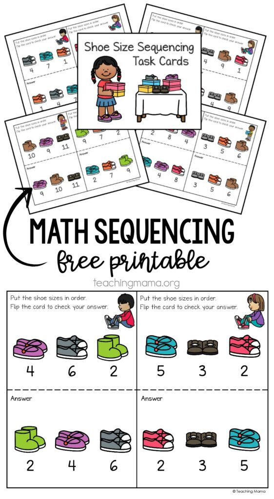 math sequencing task cards