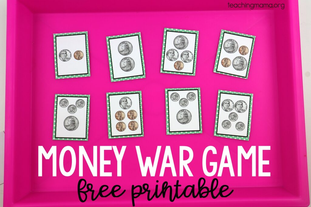 money war - printable game to practice counting American coins