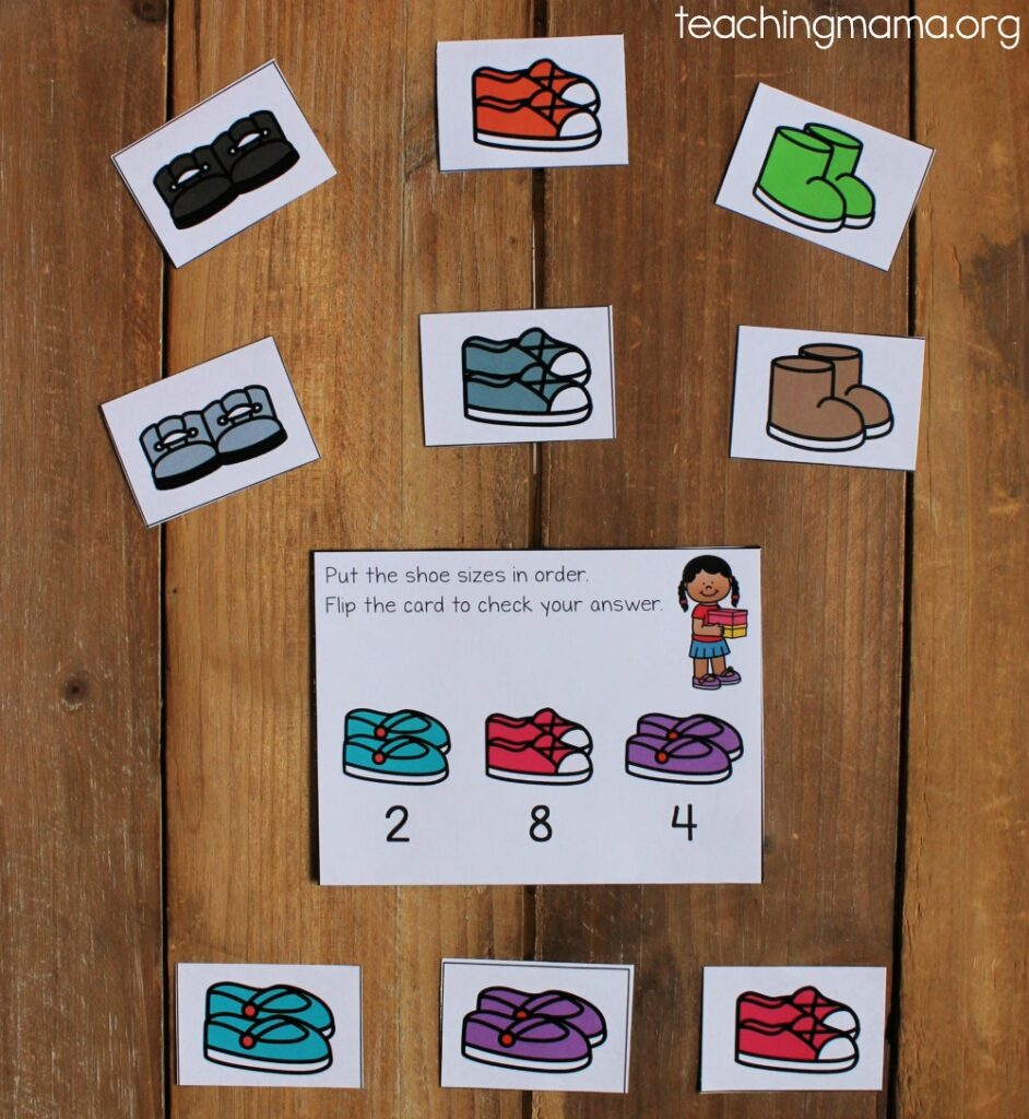 math sequencing cards with a shoe theme