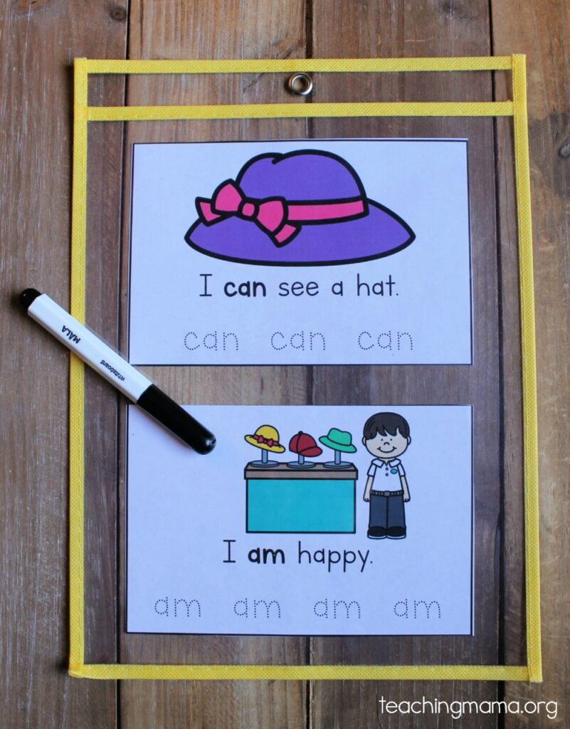 sight word practice sheets in a reusable plastic pouch