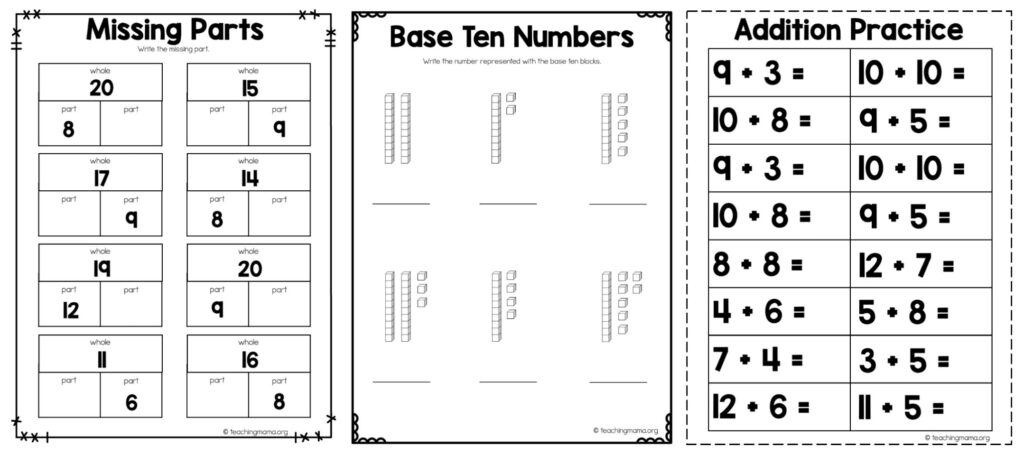 First Grade At Home Math Packet - Teaching Mama