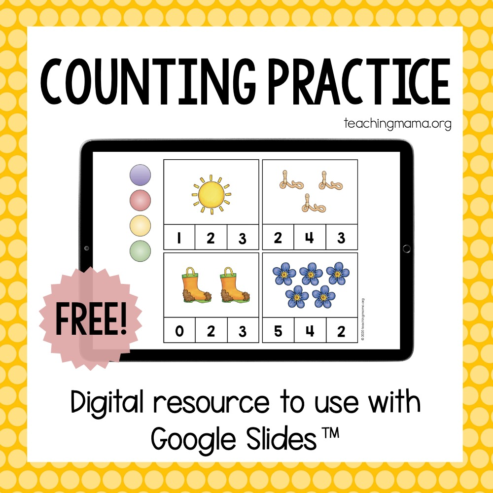 counting practice using google slides