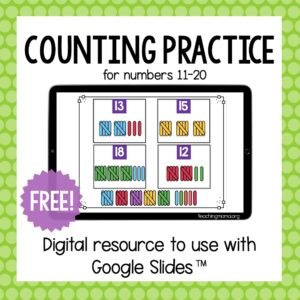 counting practice digital resource for numbers 11-20