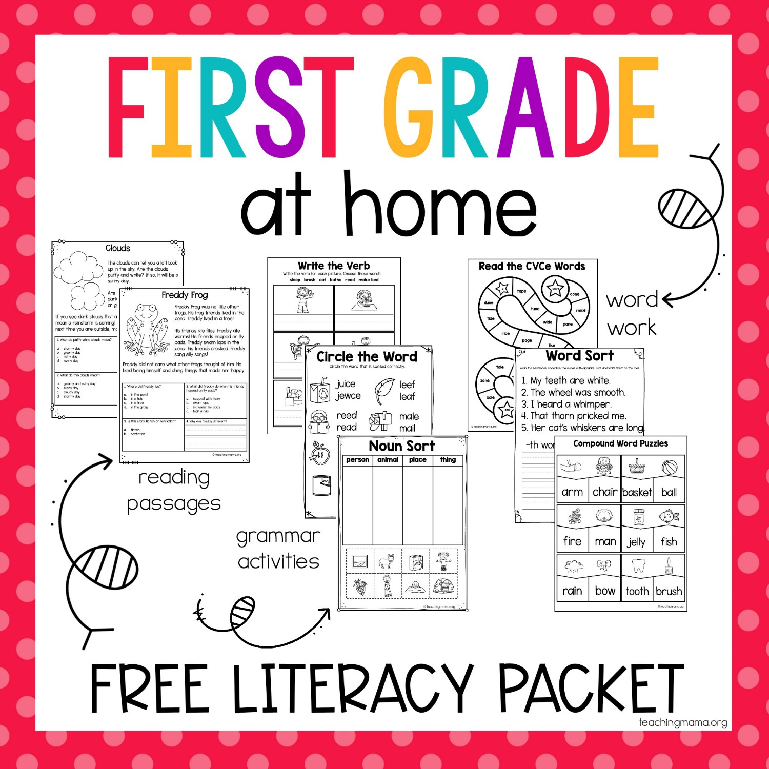 - First Grade At Home Literacy Packet - Teaching Mama