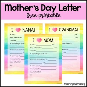 mother's day letter - free printable