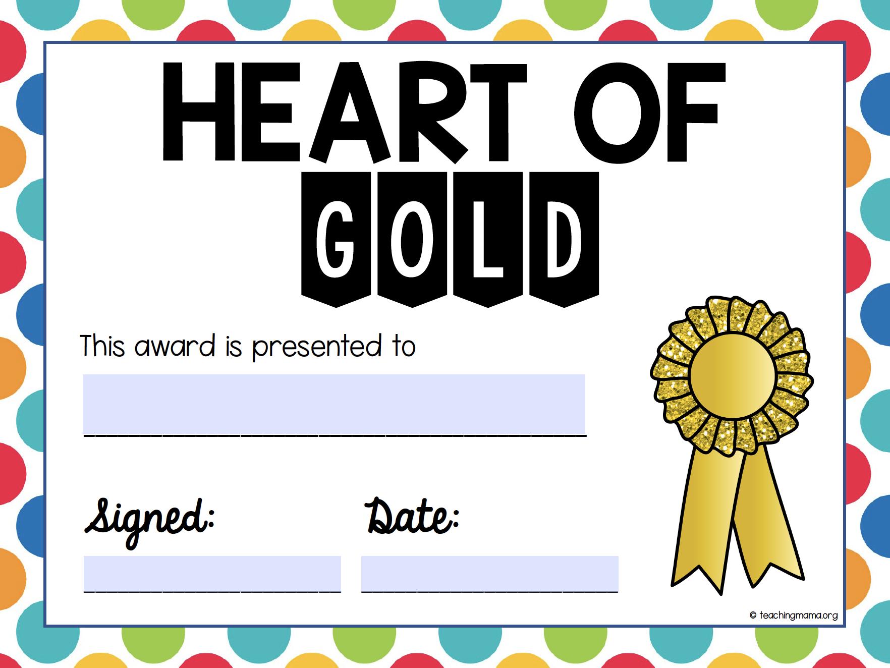 heart of gold class award