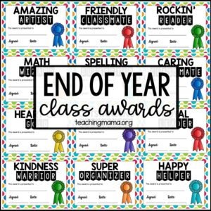 end of year class awards printable