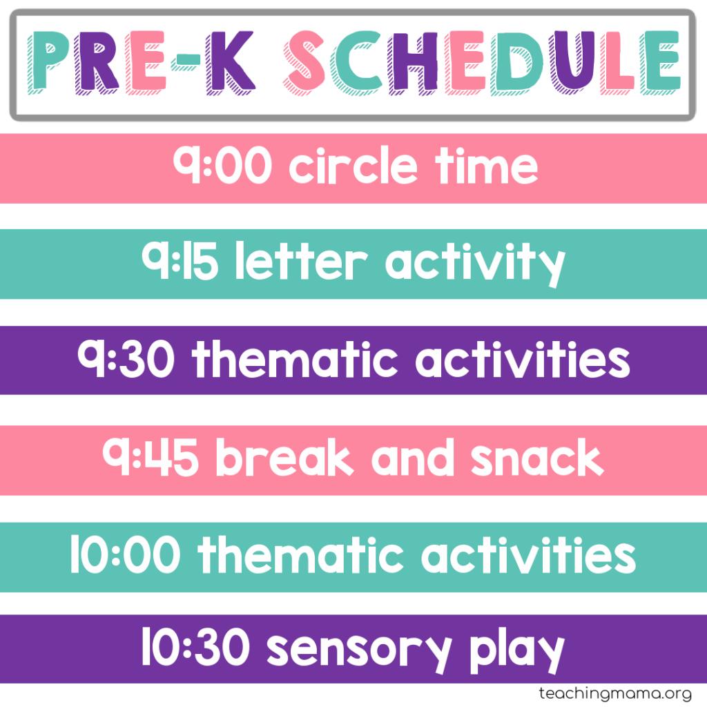 home preschool schedule with thematic activities