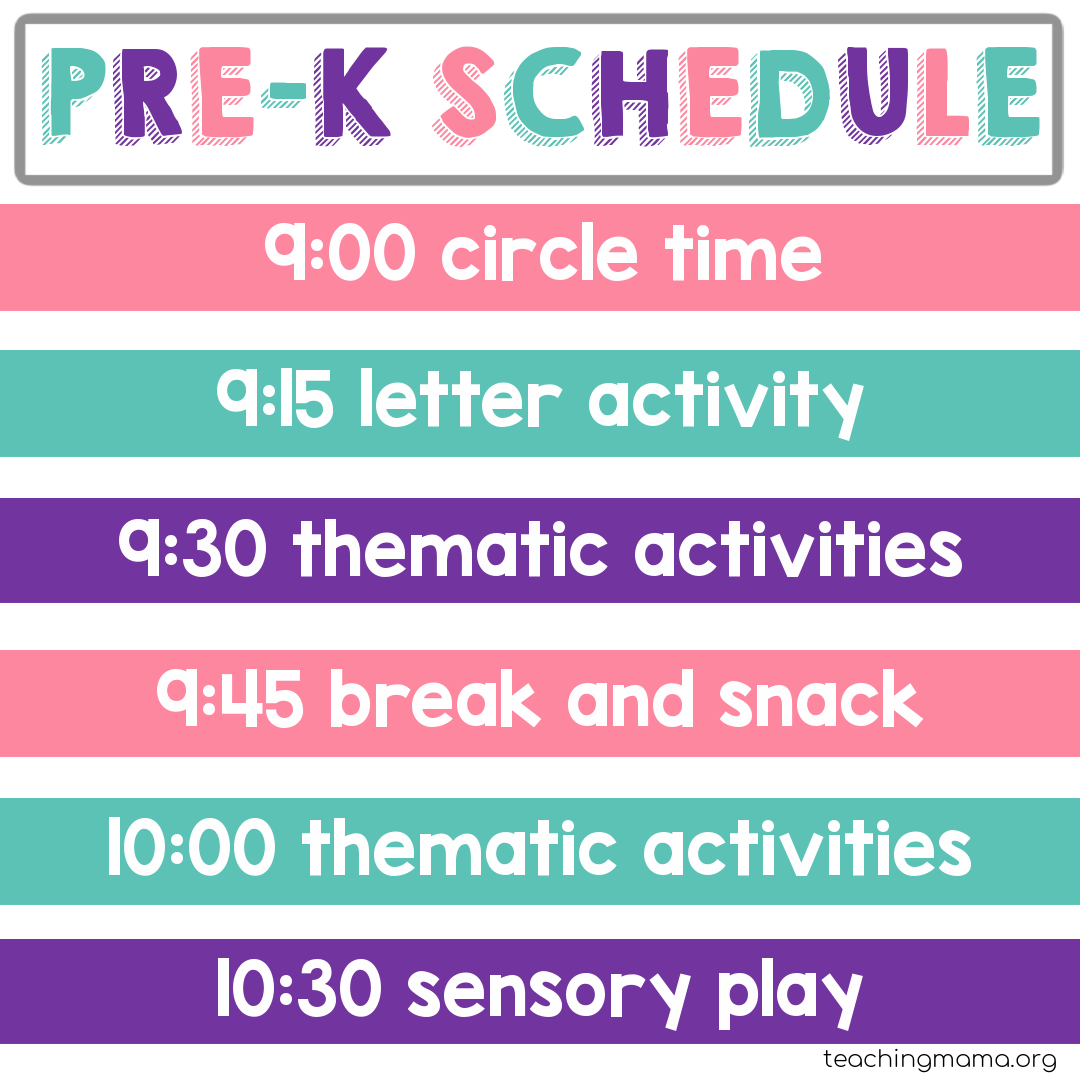 home preschool schedule with thematic activities