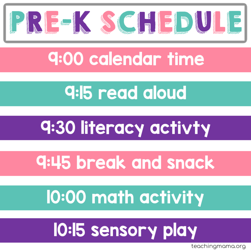 home preschool schedule with literacy and math