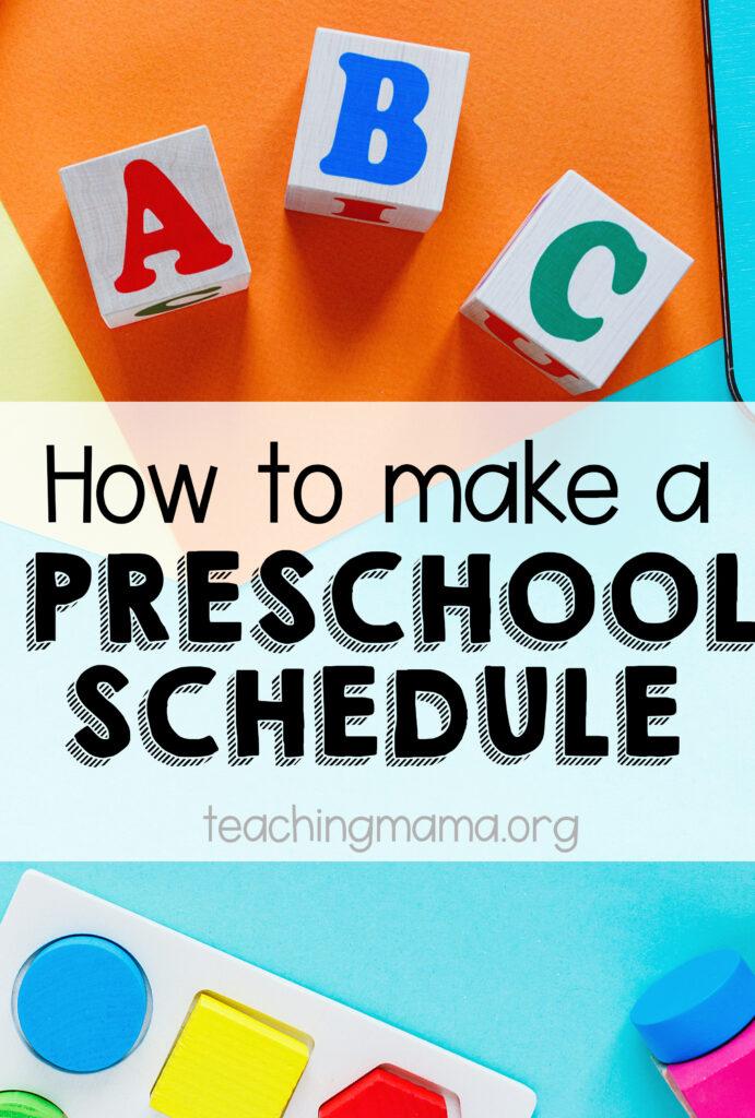 how to make a preschool schedule