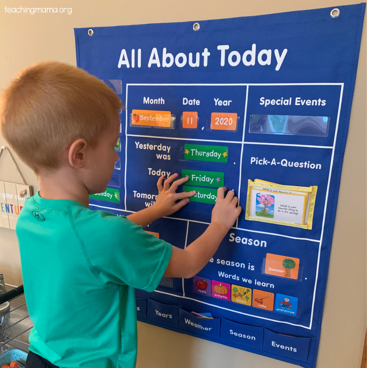 all about today pocket chart from Lakeshore Learning