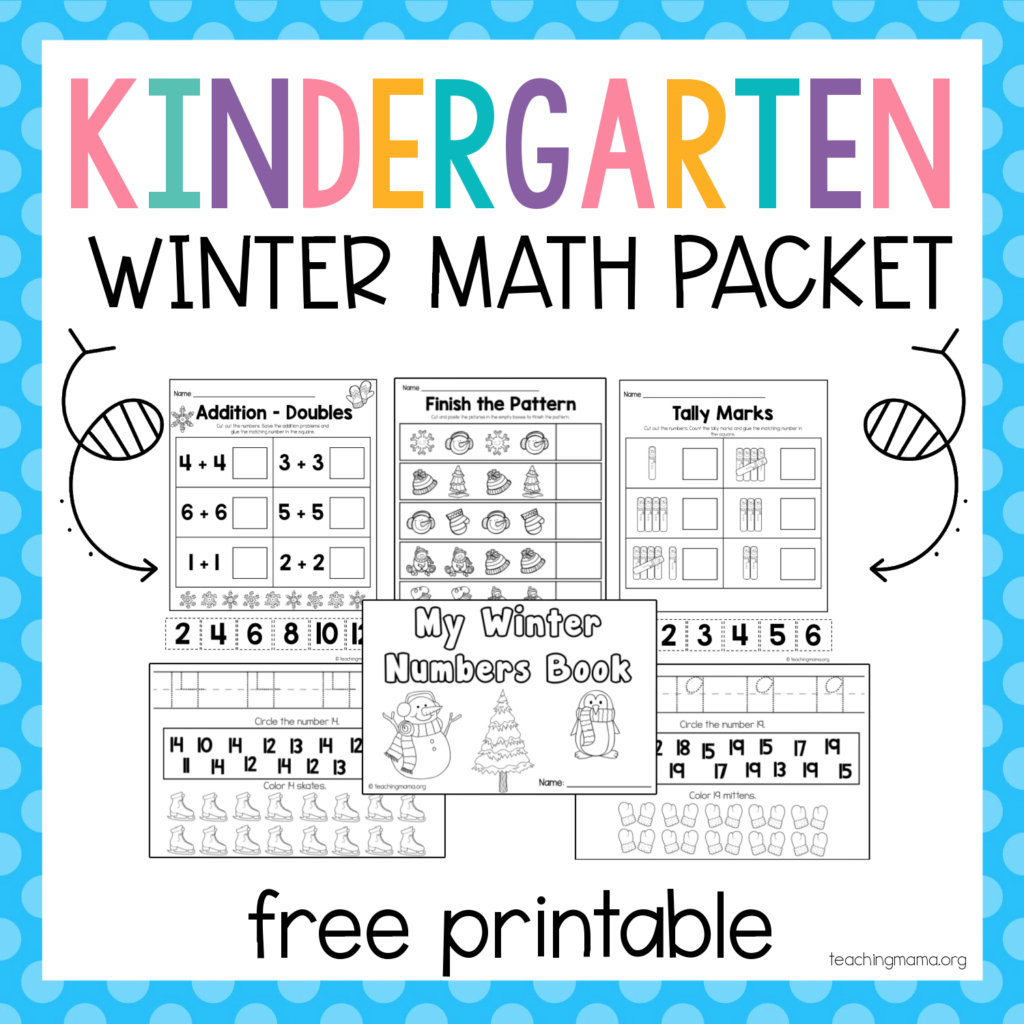 kindergarten winter math packet