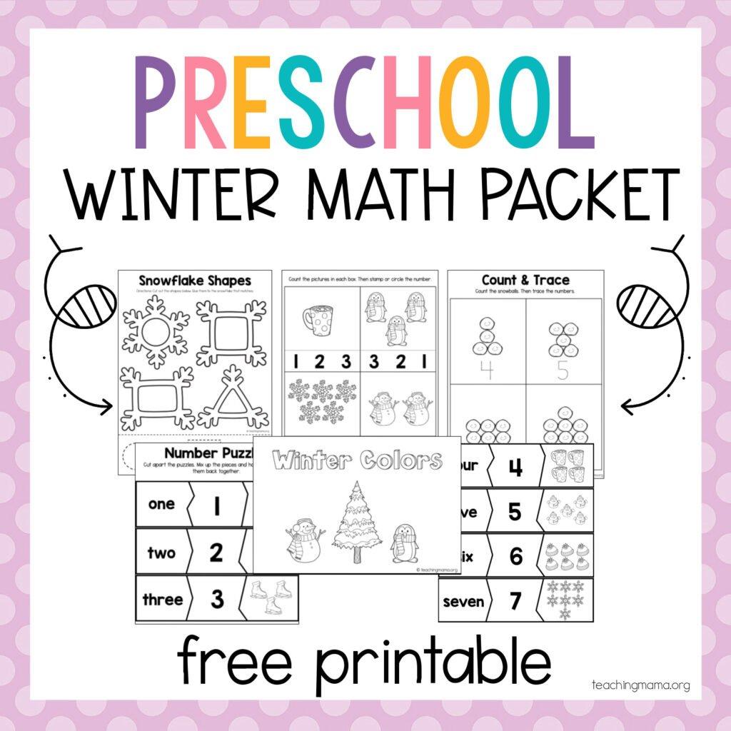 preschool winter math packet
