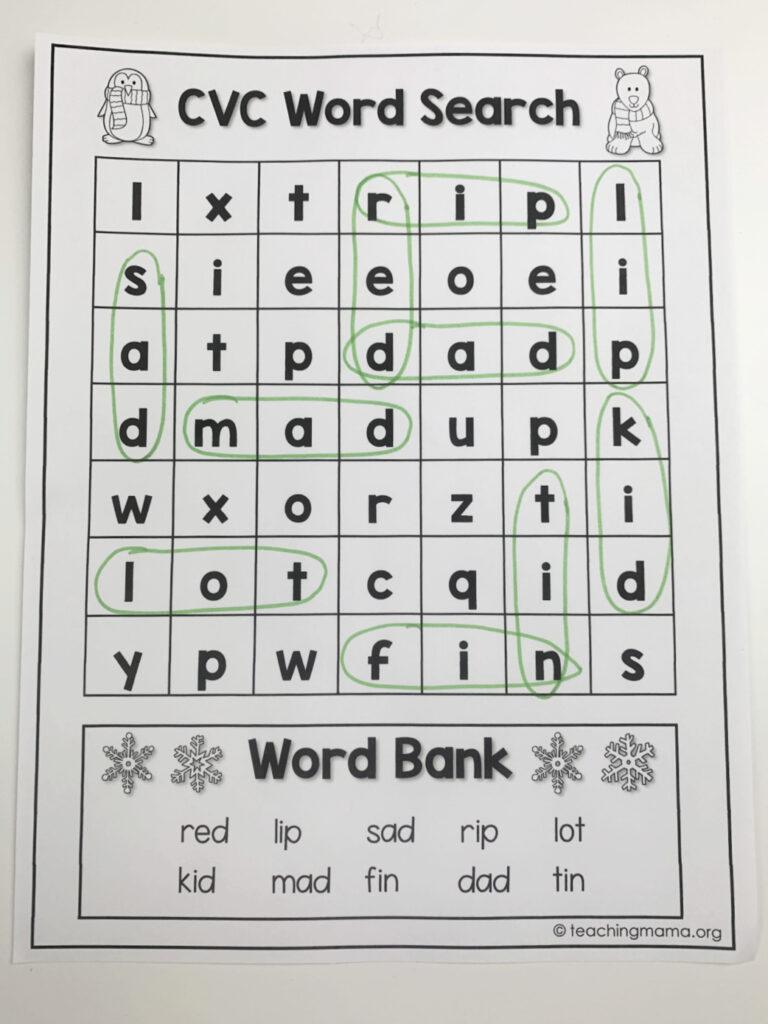 cvc words search