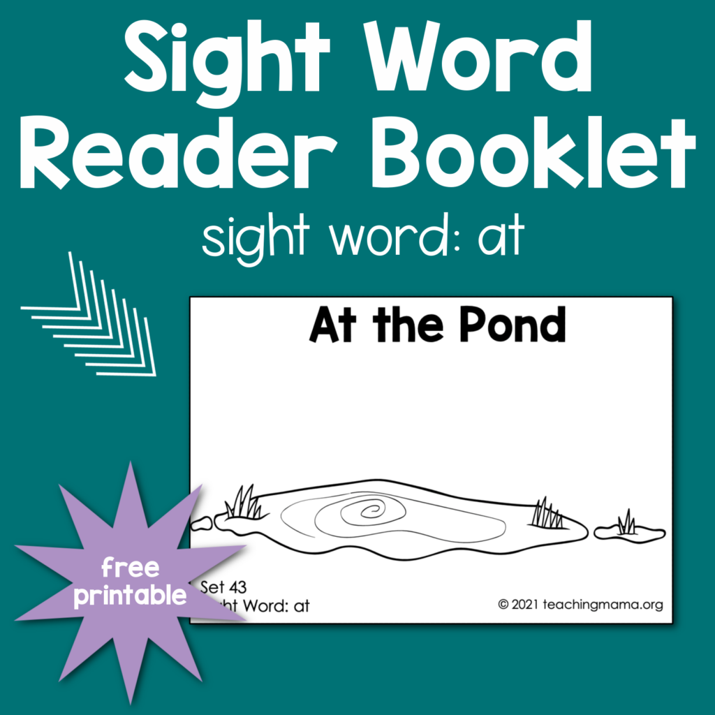"""sight word booklet for word """"at"""""""