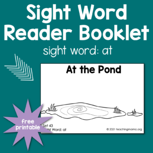 "sight word booklet for word ""at"""