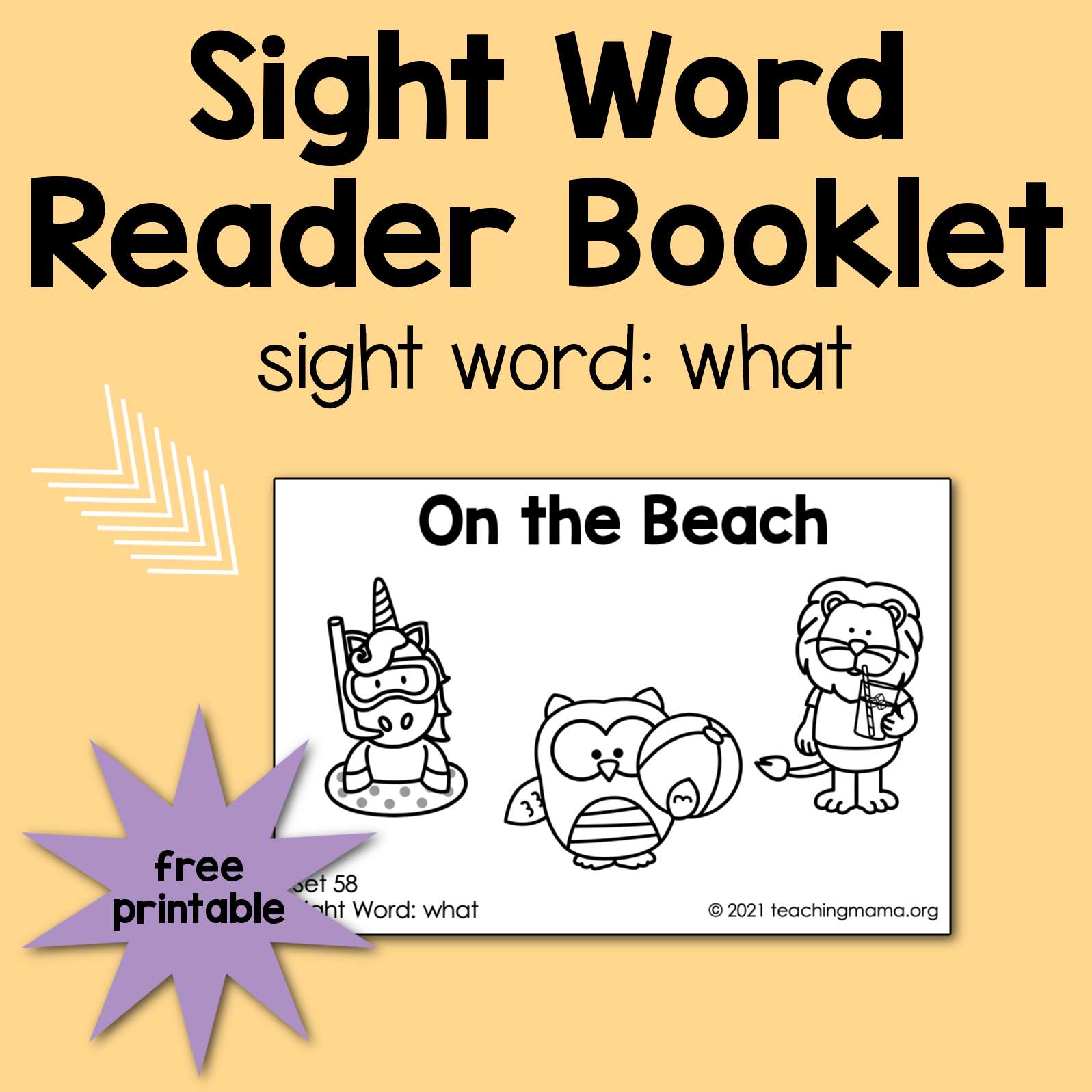 """Sight Word Reader for the Word """"What"""""""