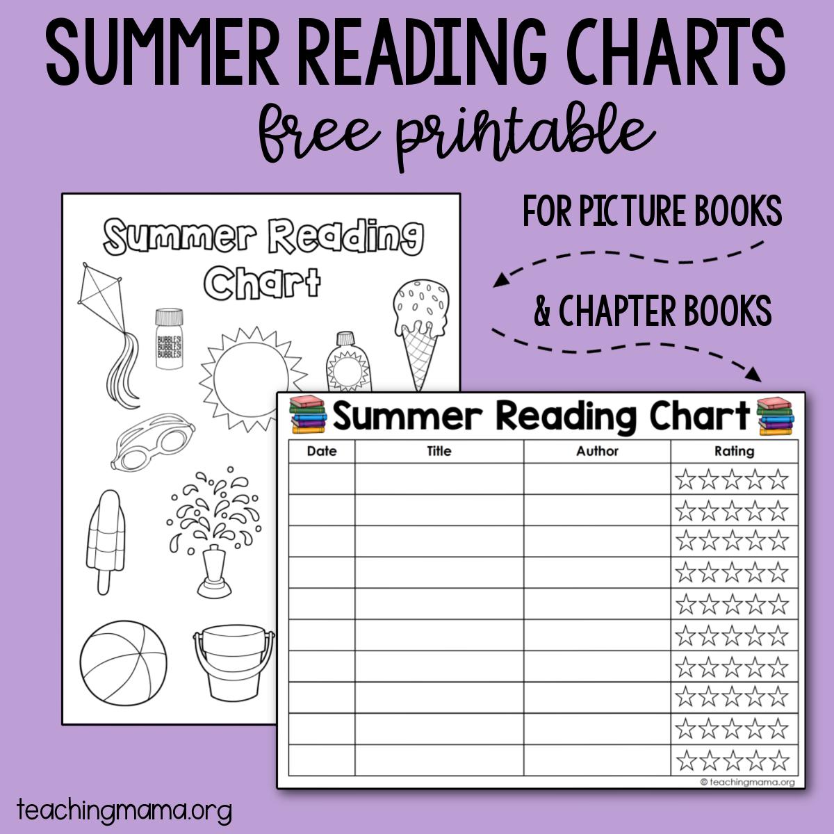 summer reading chart for kids