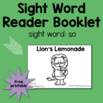 "Sight Word Reader for the Word ""So"""