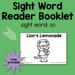 sight word booklet for so