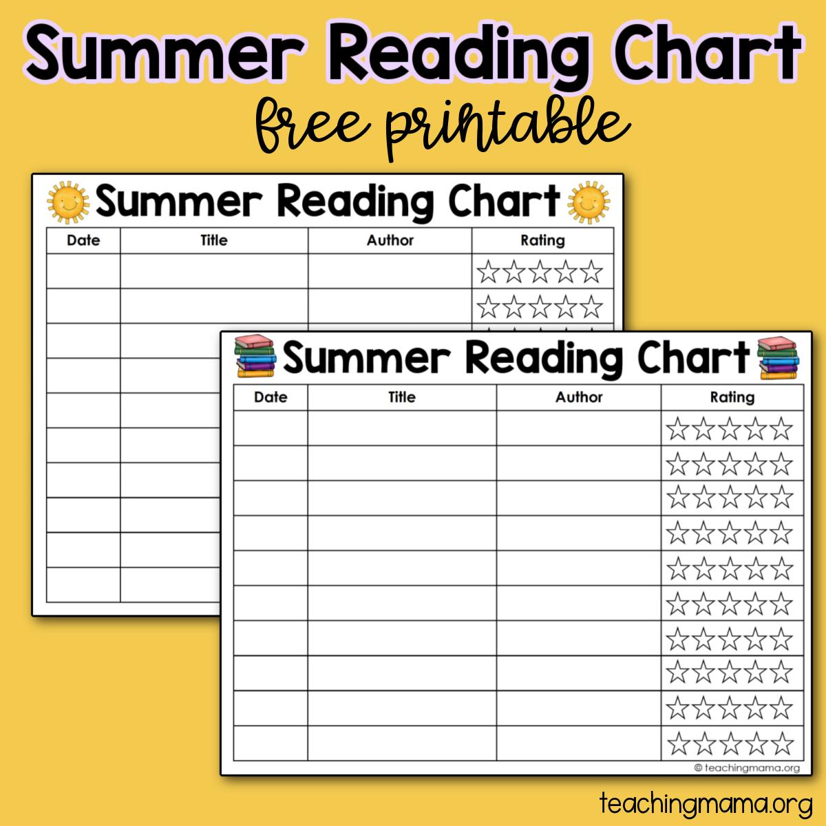 summer reading chart - chapter books