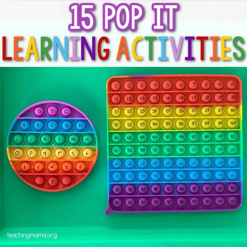 15 pop it learning activities